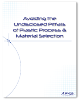"Cover of a whitepaper titled, ""Avoiding the Pitfalls of Plastic Process and Material Selection."""