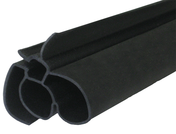 Close-up of a double-hollow extruded plastic seal.