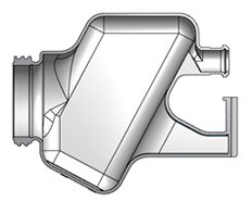A CAD rendering of a blow molded product.