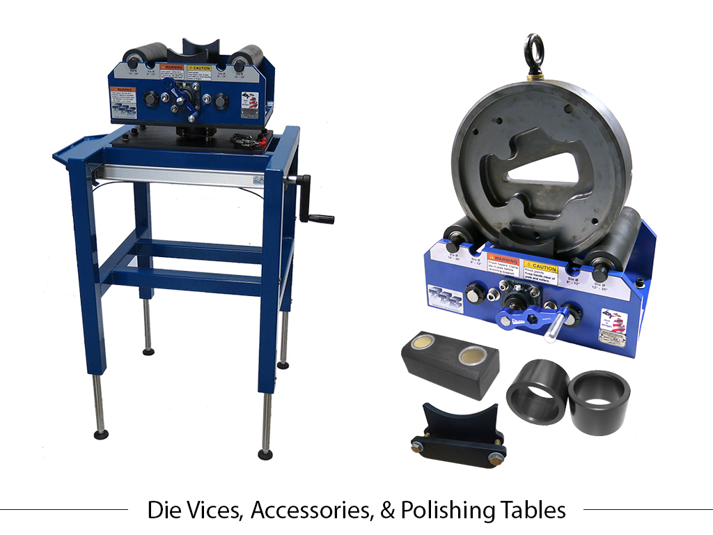 Die Vice Polishing Station, Die Vise, Magnetic Key, Roller Sleeves, and Jaw Extension