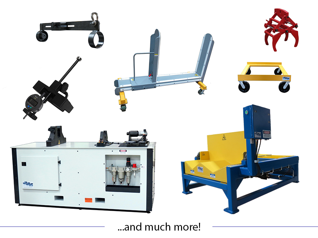 Seamless Mandrel Lifting Device, Bundling Cart, Billet Scissor Lift Tongs, Adjustable Butt Alignment Guage, Dolly Cart, Seamless Mandrel Tip Removal Table, and Up-Ender