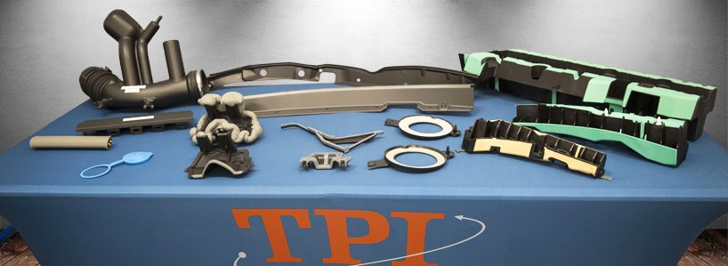 An assortment of TPI's single and multi-shot injection molding products for the automotive, agriculture, appliance, and consumer goods industries.