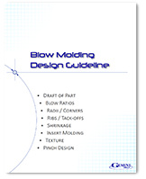 "Cover of a whitepaper titled, ""Blow Molding Design Guide."""