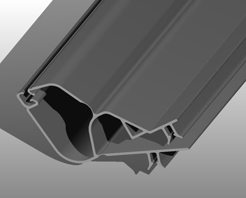 Rendering of an extruded plastic part for electrical applications.