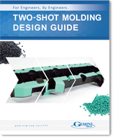 A thumbnail of the cover of a two-shot injection molding design guide.