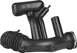 An extrusion blow molded plastic air intake assembly.