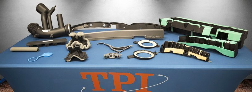 An assortment of two-shot injection molded products for the automotive industry, engineered and manufactured by Thumb Plastics, Inc. (TPI).