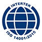 The Intertek ISO 14001:2015 certification icon.
