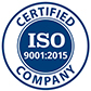 The ISO 9001:2015 certification icon.