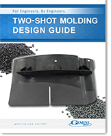 The front cover of a two-shot injection molding look book that features hi-res photos of two-shot injection molded parts.