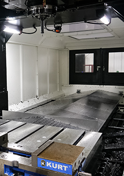The interior of a YCM double column milling machine.